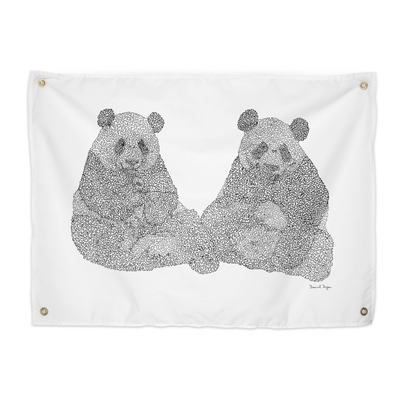 Playing Pandas BLACK AND WHITE Home Tapestry by Daniel Dugan's Artist Shop