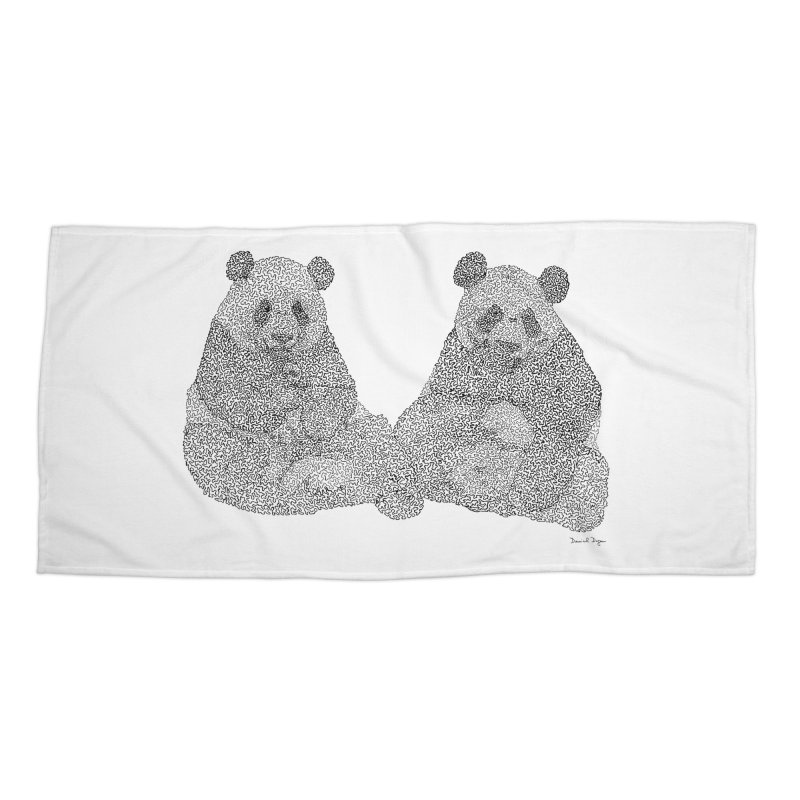 Playing Pandas BLACK AND WHITE Accessories Beach Towel by Daniel Dugan's Artist Shop