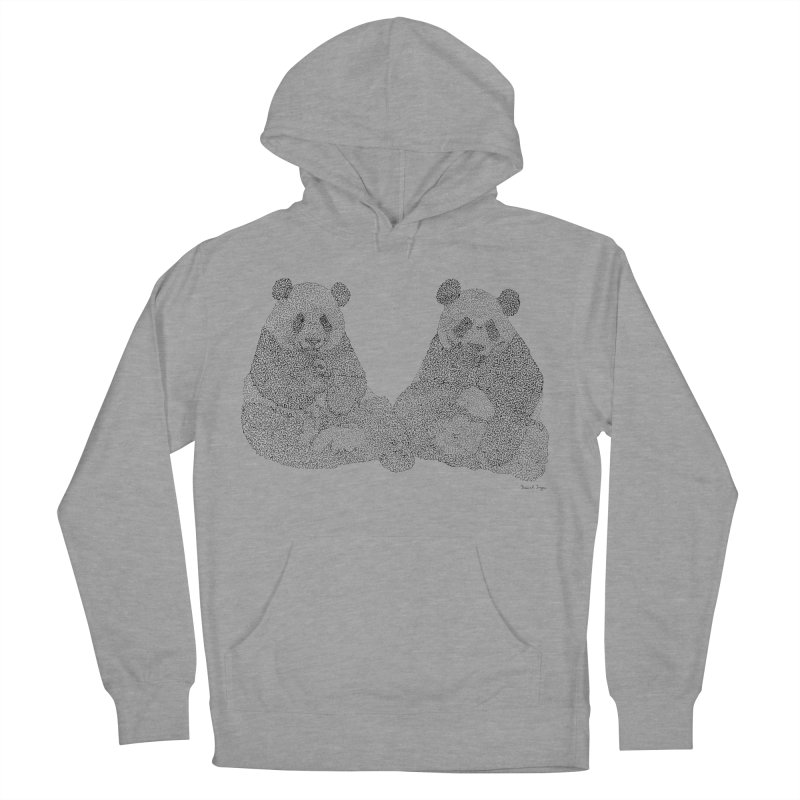 Playing Pandas BLACK AND WHITE Women's Pullover Hoody by Daniel Dugan's Artist Shop