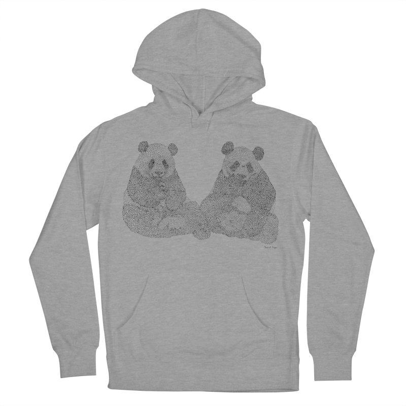 Playing Pandas BLACK AND WHITE Men's Pullover Hoody by Daniel Dugan's Artist Shop