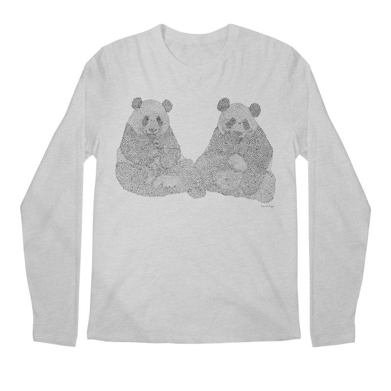 Playing Pandas BLACK AND WHITE Men's Longsleeve T-Shirt by Daniel Dugan's Artist Shop