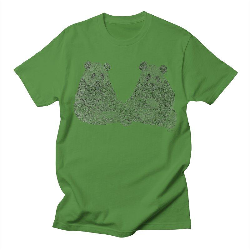 Playing Pandas BLACK AND WHITE Women's Unisex T-Shirt by Daniel Dugan's Artist Shop