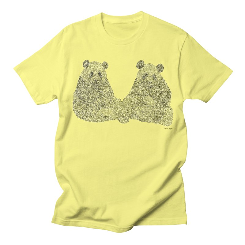 Playing Pandas BLACK AND WHITE Men's T-shirt by Daniel Dugan's Artist Shop