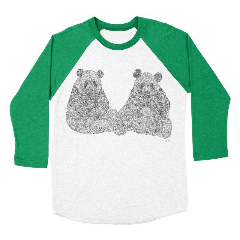 Playing Pandas BLACK AND WHITE Women's Baseball Triblend T-Shirt by Daniel Dugan's Artist Shop