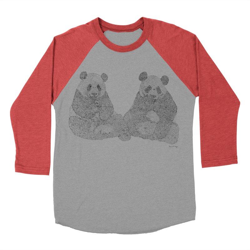 Playing Pandas BLACK AND WHITE Men's Baseball Triblend T-Shirt by Daniel Dugan's Artist Shop