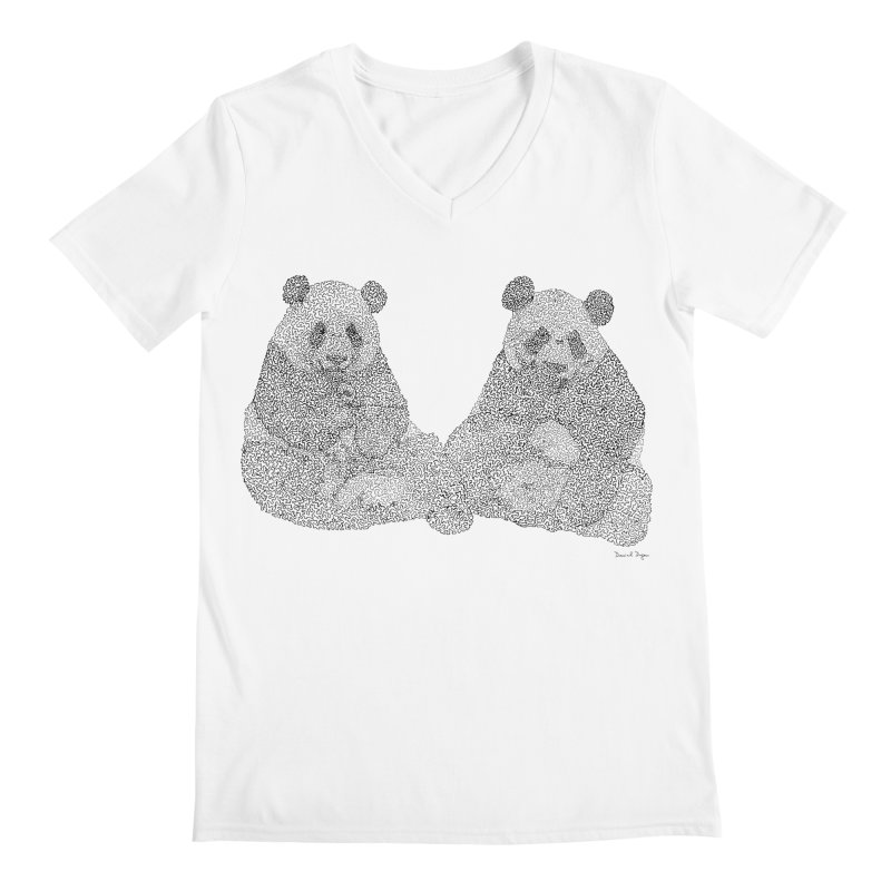 Playing Pandas BLACK AND WHITE Men's V-Neck by Daniel Dugan's Artist Shop