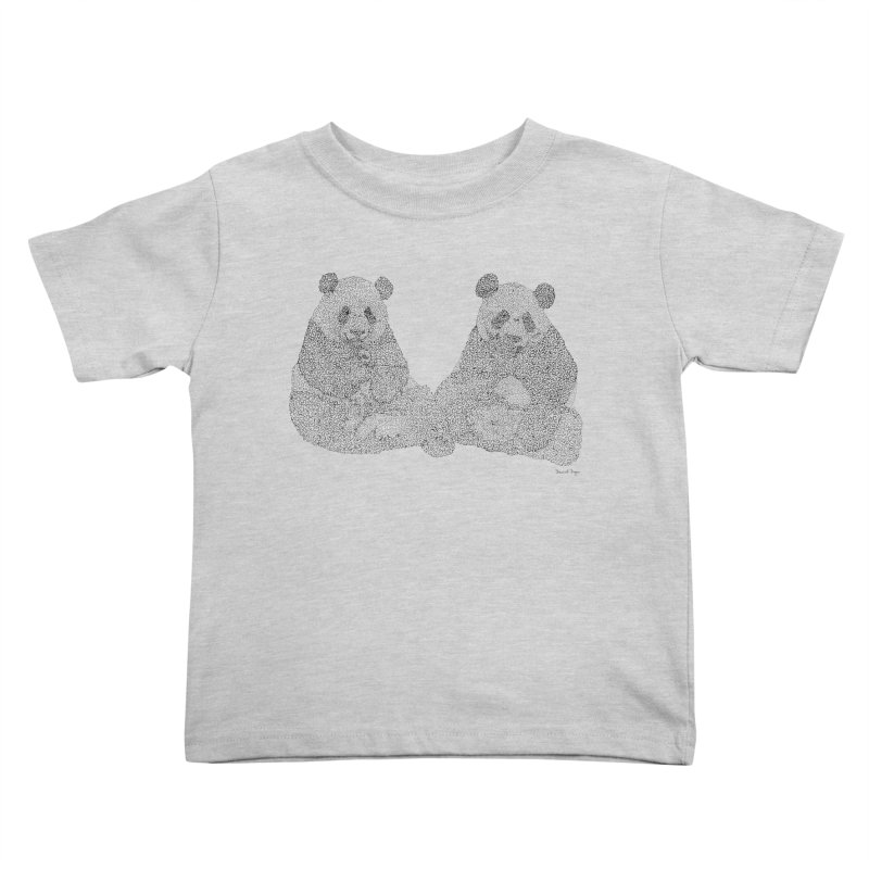 Playing Pandas BLACK AND WHITE Kids Toddler T-Shirt by Daniel Dugan's Artist Shop