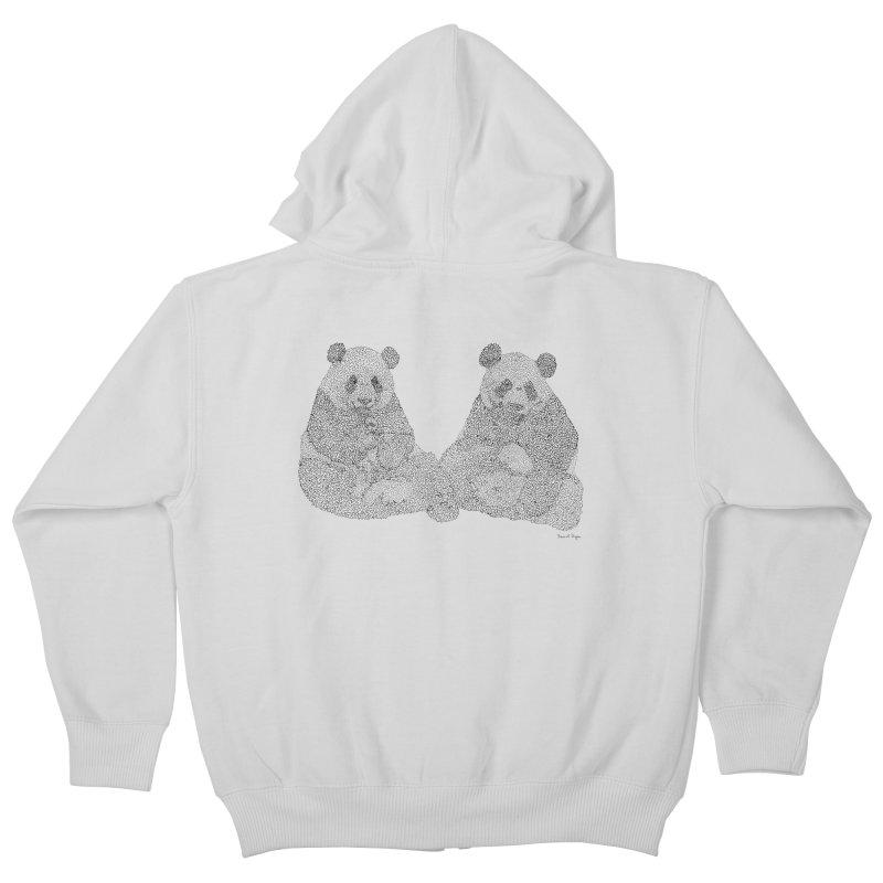 Playing Pandas BLACK AND WHITE Kids Zip-Up Hoody by Daniel Dugan's Artist Shop