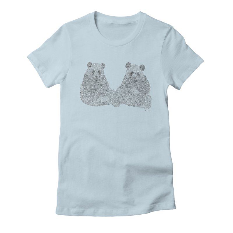 Playing Pandas BLACK AND WHITE Women's Fitted T-Shirt by Daniel Dugan's Artist Shop