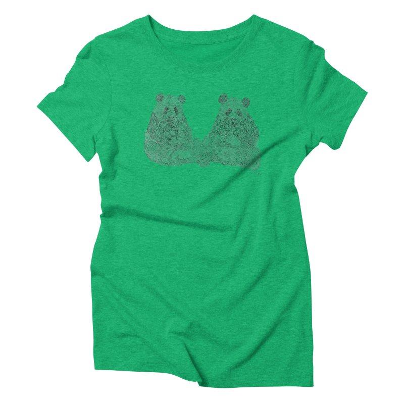 Playing Pandas BLACK AND WHITE Women's Triblend T-shirt by Daniel Dugan's Artist Shop