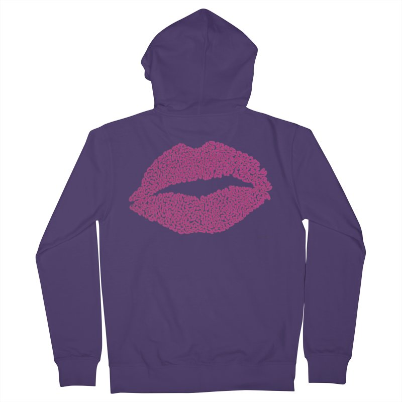 Kisses Are the Answer - One Continuous Line Women's French Terry Zip-Up Hoody by Daniel Dugan's Artist Shop