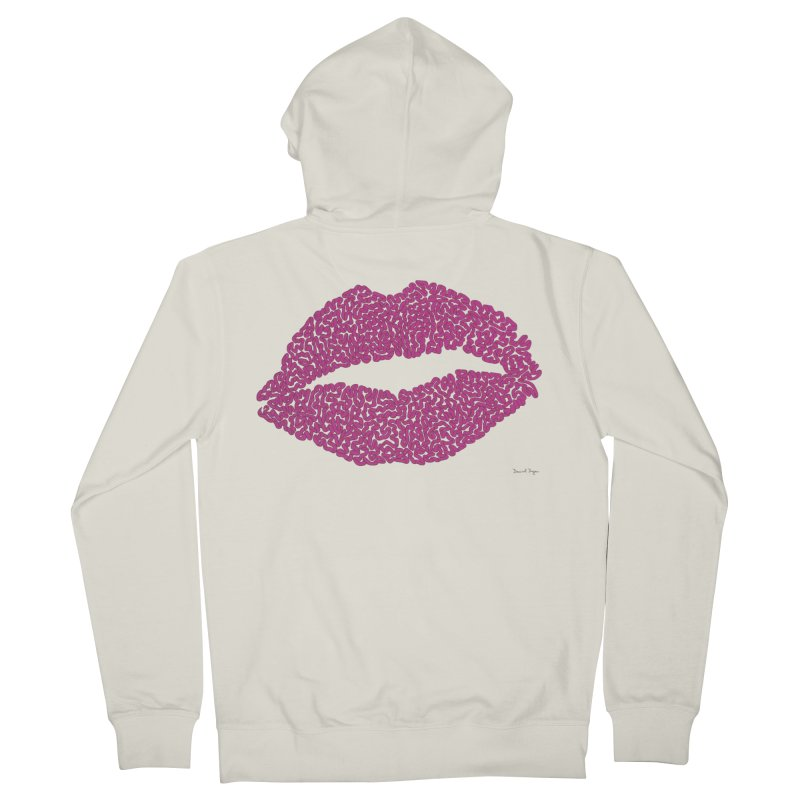 Kisses Are the Answer - One Continuous Line Men's French Terry Zip-Up Hoody by Daniel Dugan's Artist Shop
