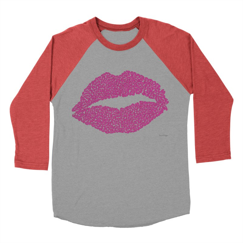 """Kisses are the Answer"" Magenta Lips Pillows & more Men's Baseball Triblend T-Shirt by Daniel Dugan's Artist Shop"