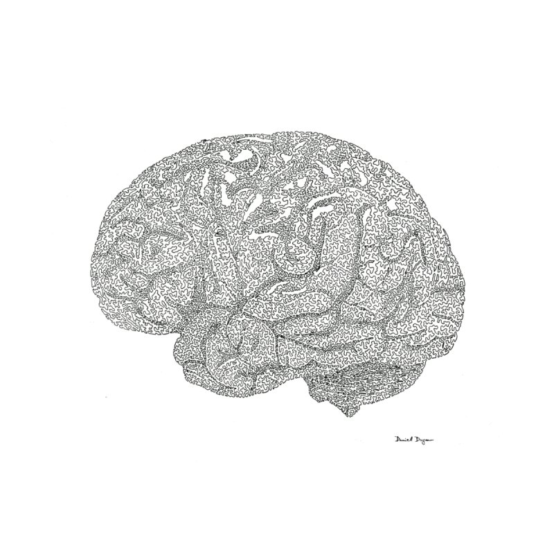 Brain Work - One Continuous Line Men's Pullover Hoody by Daniel Dugan's Artist Shop