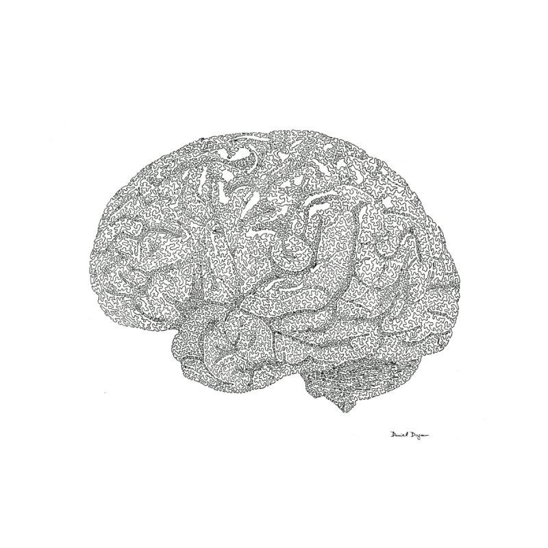 Brain Work - One Continuous Line None  by Daniel Dugan's Artist Shop