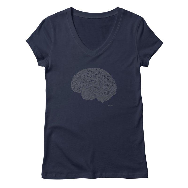 Brain Work Women's V-Neck by Daniel Dugan's Artist Shop