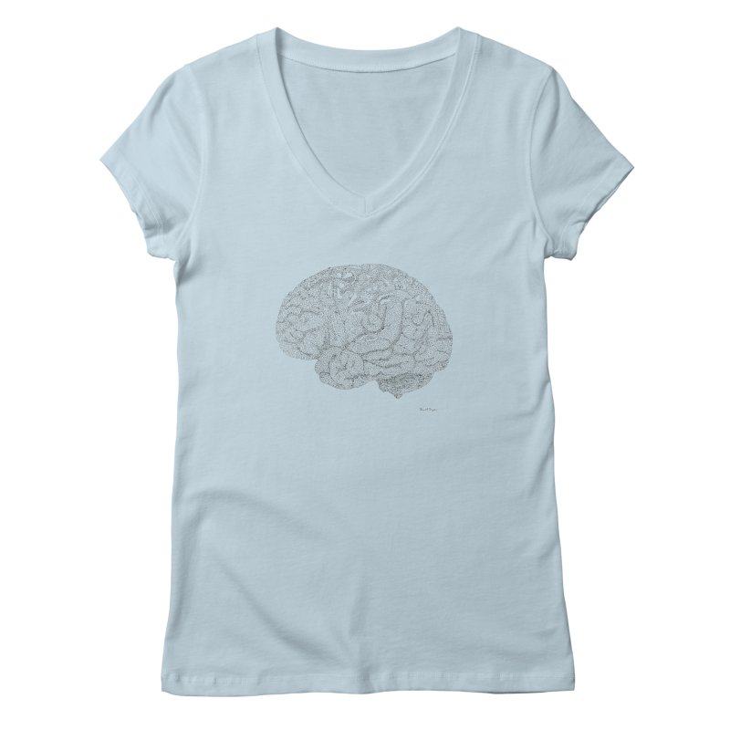 Brain Work Women's V-Neck by Daniel Dugan's Artist Shop
