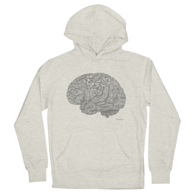 Brain Work in Women's French Terry Pullover Hoody Heather Oatmeal by Daniel Dugan's Artist Shop