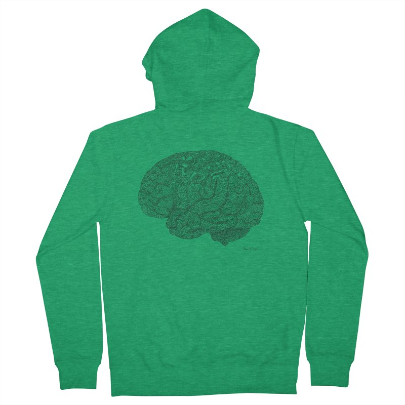 Brain Work Men's French Terry Zip-Up Hoody by Daniel Dugan's Artist Shop