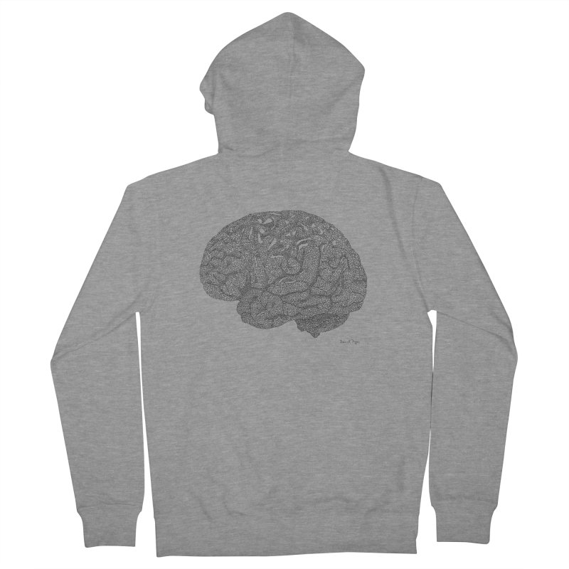 Brain Work Women's French Terry Zip-Up Hoody by Daniel Dugan's Artist Shop