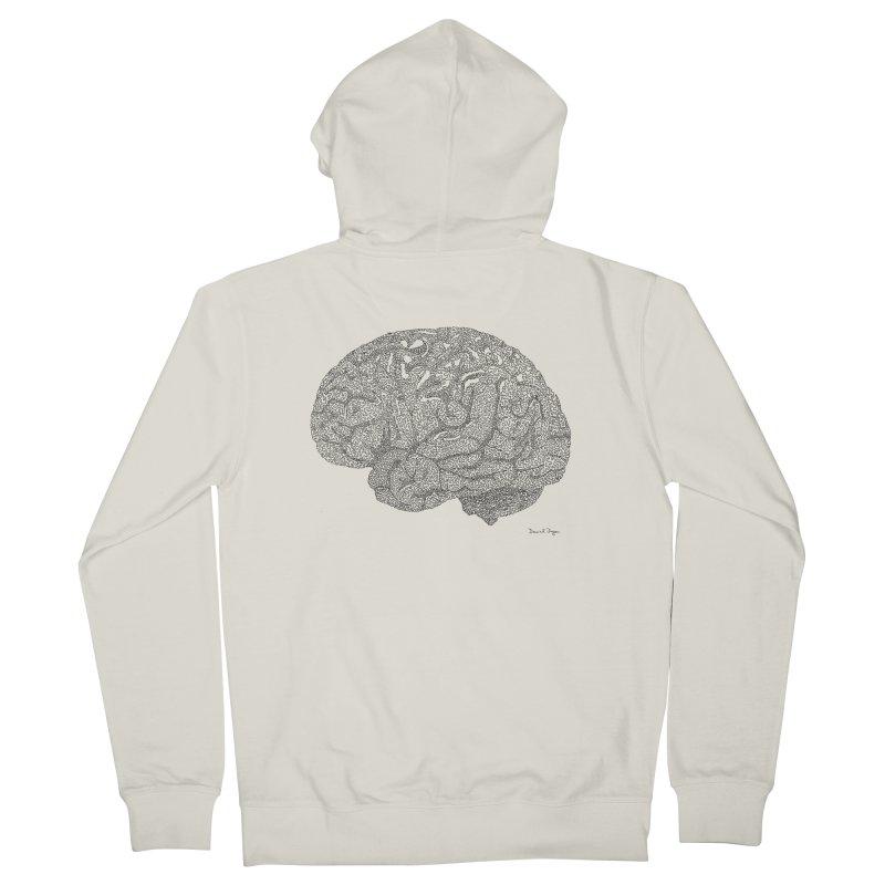 Brain Work Women's French Terry Zip-Up Hoody by Daniel Dugan's Artist Shop