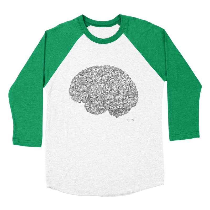 Brain Work Women's Baseball Triblend Longsleeve T-Shirt by Daniel Dugan's Artist Shop