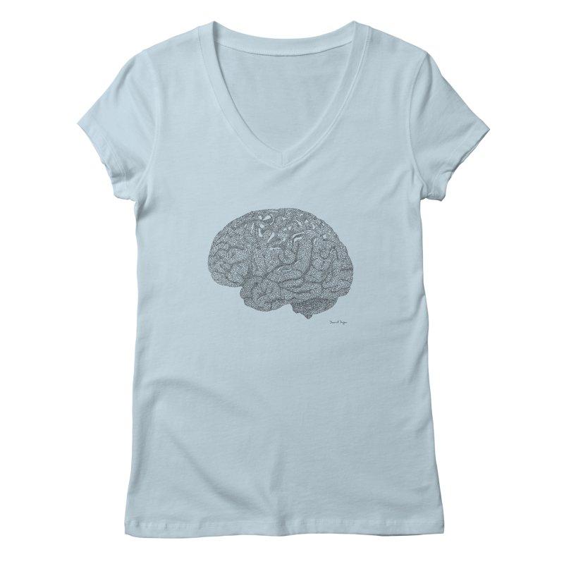 Brain Work Women's Regular V-Neck by Daniel Dugan's Artist Shop