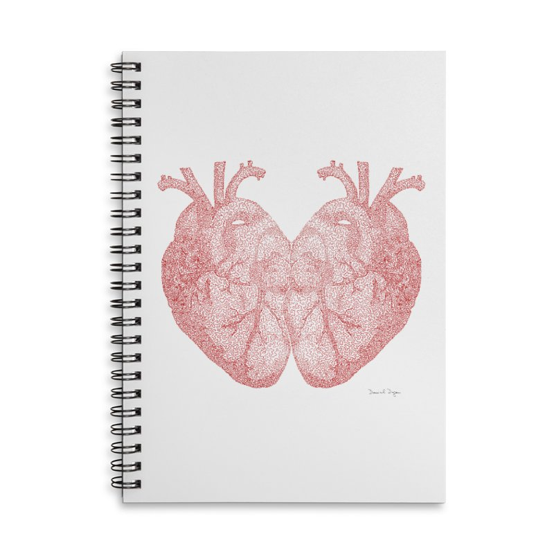 Heart to Heart - One Continuous Line Accessories Lined Spiral Notebook by Daniel Dugan's Artist Shop