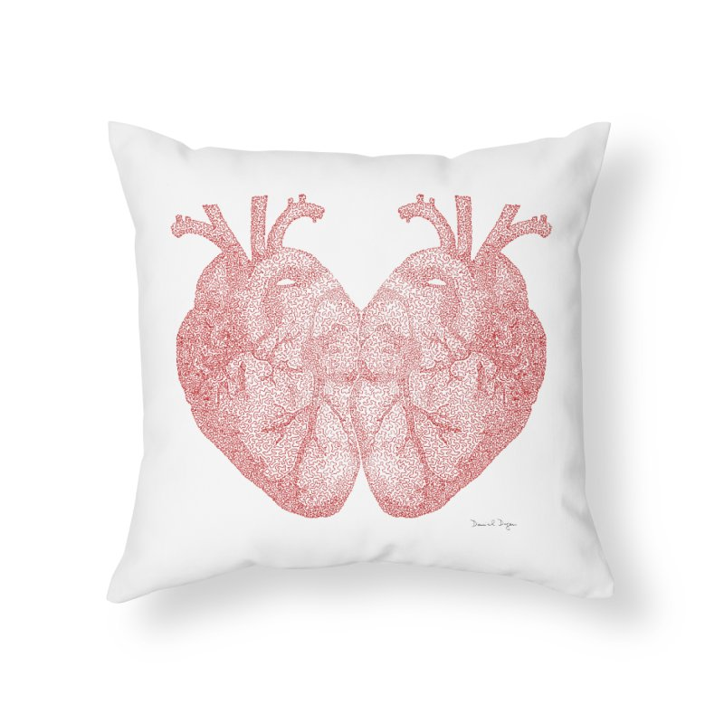 Heart to Heart - One Continuous Line Home Throw Pillow by Daniel Dugan's Artist Shop