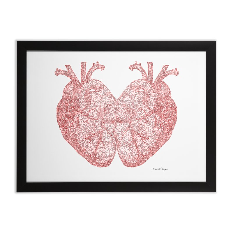 Heart to Heart - One Continuous Line Home Framed Fine Art Print by Daniel Dugan's Artist Shop