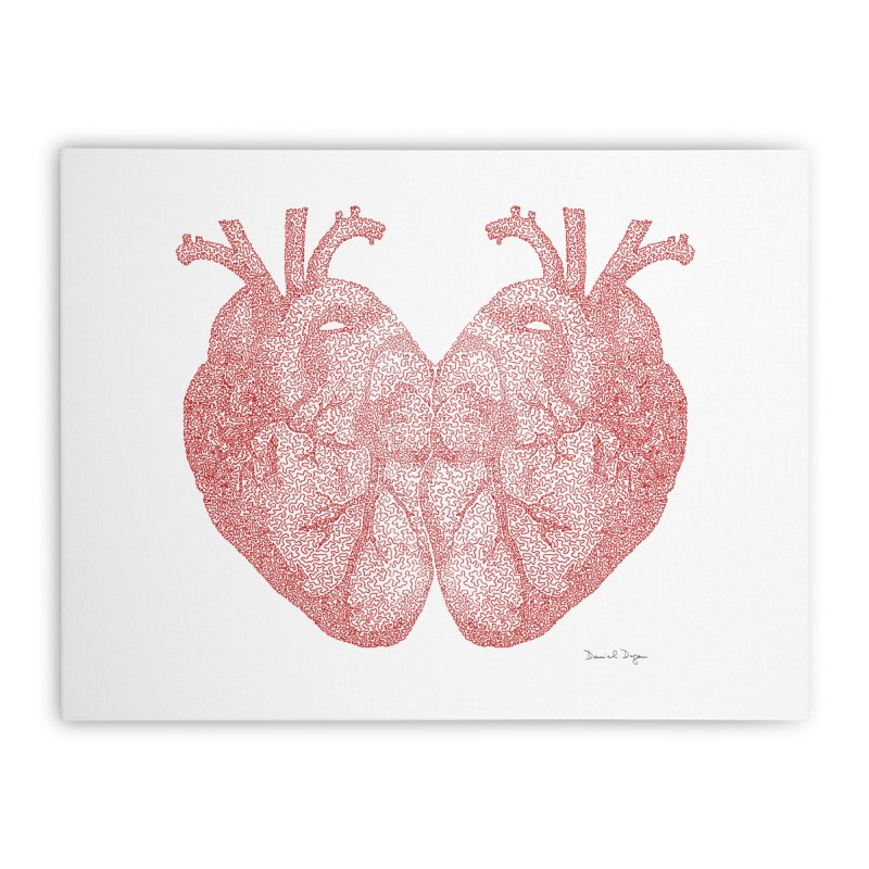Heart to Heart - One Continuous Line Home Stretched Canvas by Daniel Dugan's Artist Shop