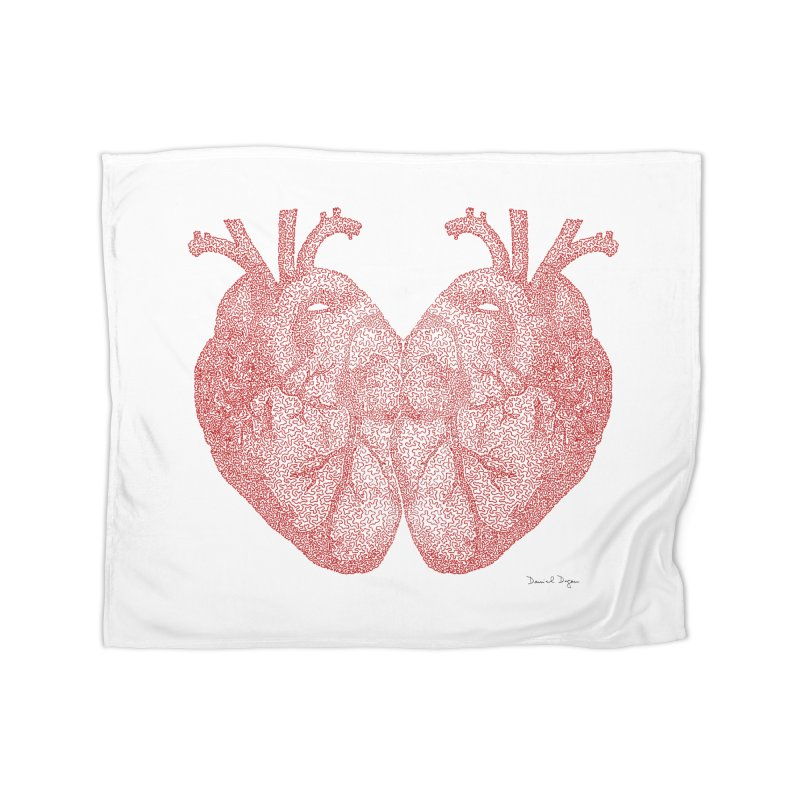 Heart to Heart - One Continuous Line Home Blanket by Daniel Dugan's Artist Shop