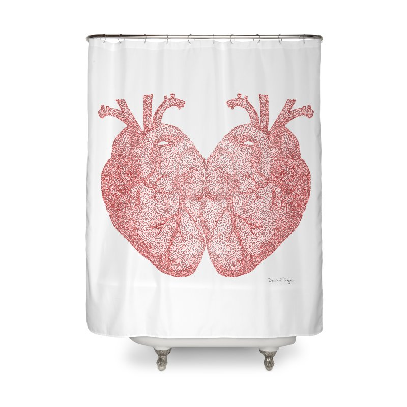 Heart to Heart - One Continuous Line Home Shower Curtain by Daniel Dugan's Artist Shop