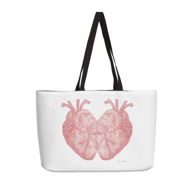 Heart to Heart - One Continuous Line Accessories Weekender Bag Bag by Daniel Dugan's Artist Shop