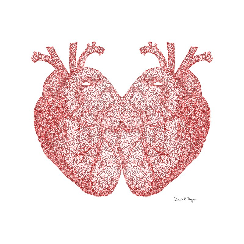 Heart to Heart - One Continuous Line by Daniel Dugan's Artist Shop