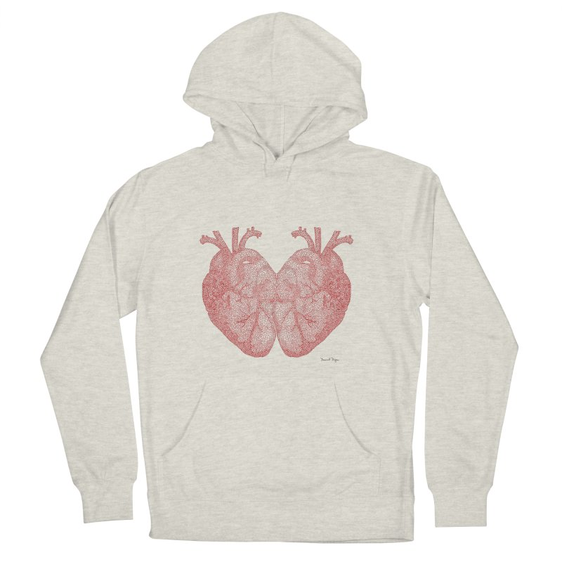 Heart to Heart - One Continuous Line in Men's French Terry Pullover Hoody Heather Oatmeal by Daniel Dugan's Artist Shop