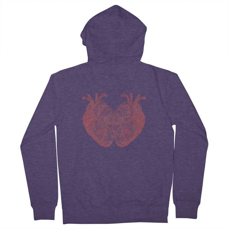 Heart to Heart - One Continuous Line Men's Zip-Up Hoody by Daniel Dugan's Artist Shop