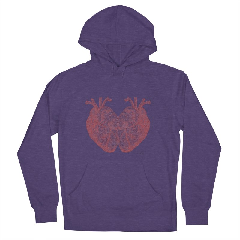 Heart to Heart - One Continuous Line Men's French Terry Pullover Hoody by Daniel Dugan's Artist Shop