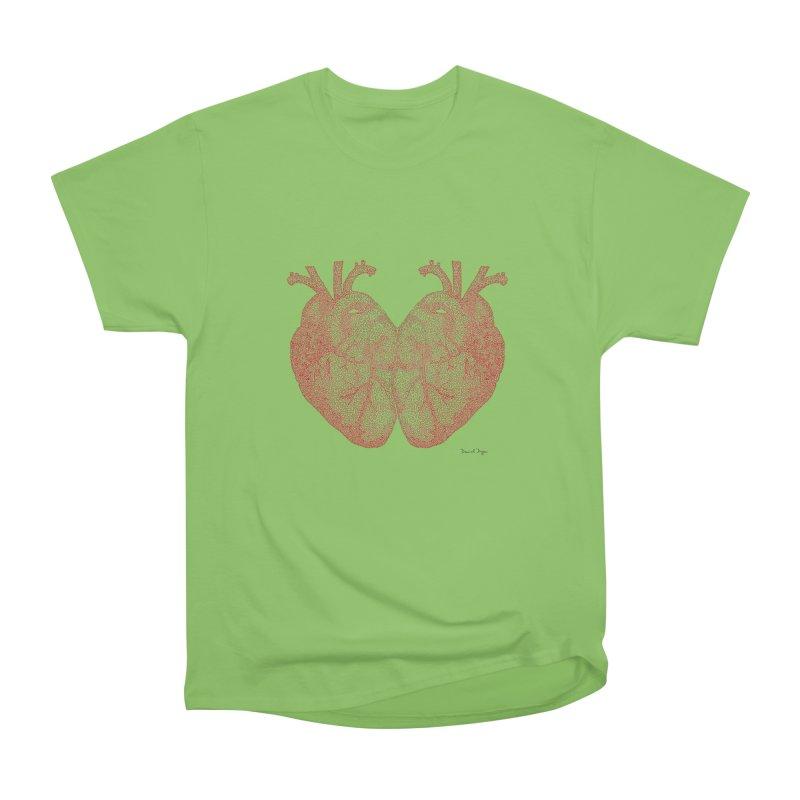Heart to Heart - One Continuous Line Men's Heavyweight T-Shirt by Daniel Dugan's Artist Shop