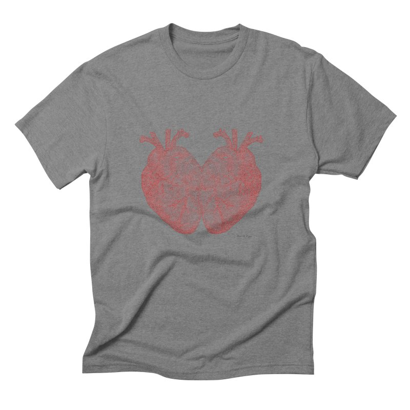 Heart to Heart - One Continuous Line Men's Triblend T-Shirt by Daniel Dugan's Artist Shop