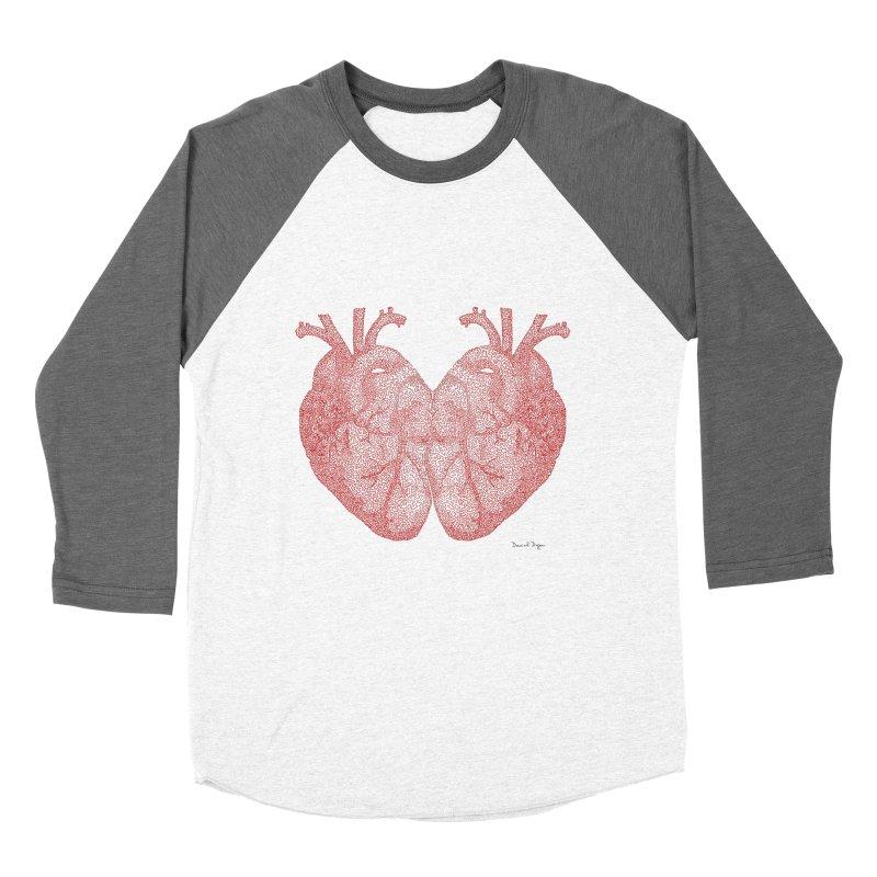 Heart to Heart - One Continuous Line Men's Baseball Triblend Longsleeve T-Shirt by Daniel Dugan's Artist Shop