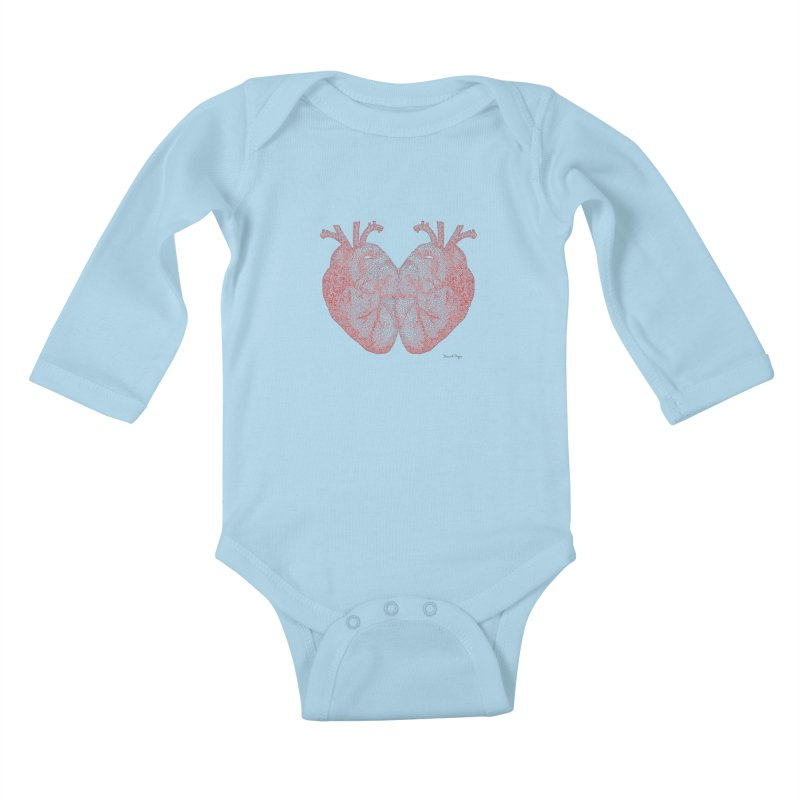 Heart to Heart - One Continuous Line Kids Baby Longsleeve Bodysuit by Daniel Dugan's Artist Shop