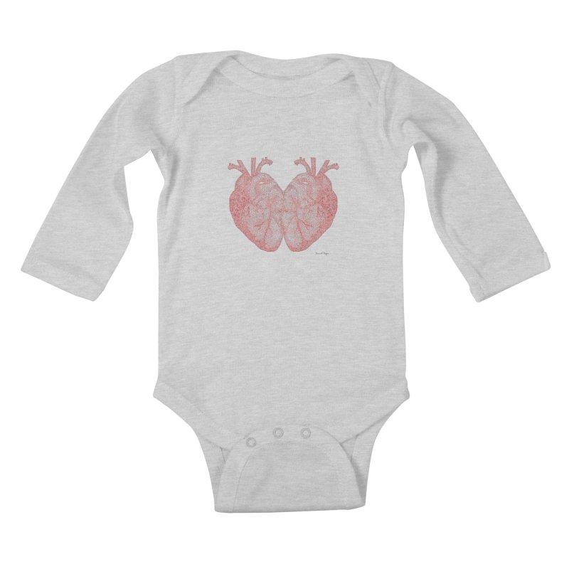 Heart to Heart - One Continuous Line Kids Baby Longsleeve Bodysuit by Daniel Dugan's Artist Shop