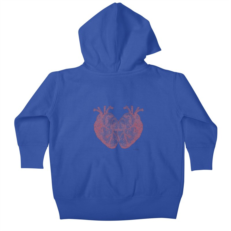 Heart to Heart - One Continuous Line Kids Baby Zip-Up Hoody by Daniel Dugan's Artist Shop