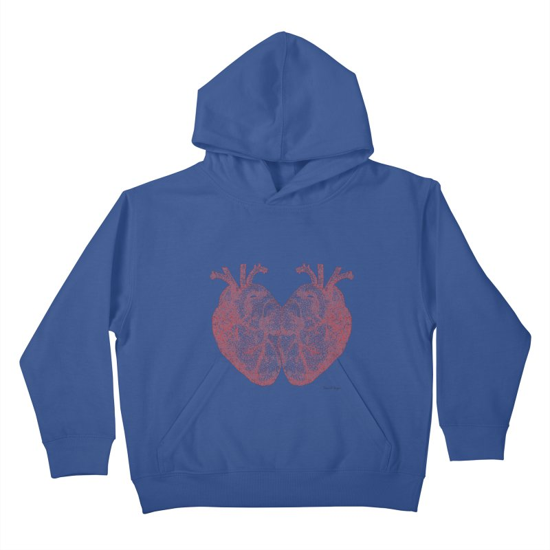Heart to Heart - One Continuous Line Kids Pullover Hoody by Daniel Dugan's Artist Shop