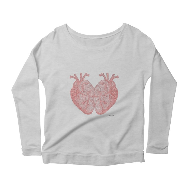 Heart to Heart - One Continuous Line Women's Scoop Neck Longsleeve T-Shirt by Daniel Dugan's Artist Shop