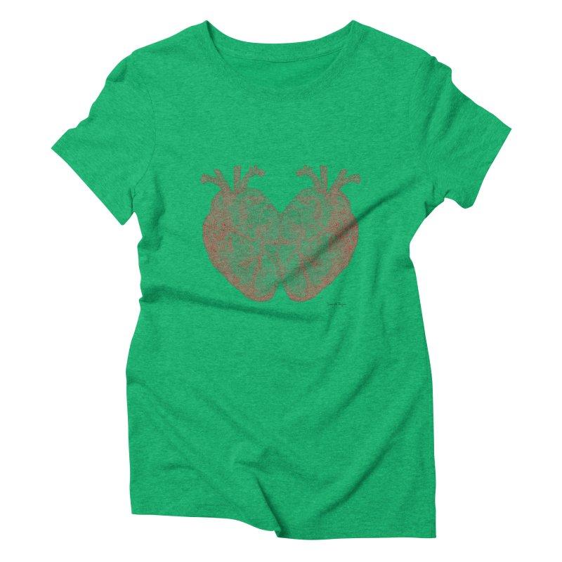 Heart to Heart - One Continuous Line Women's Triblend T-Shirt by Daniel Dugan's Artist Shop