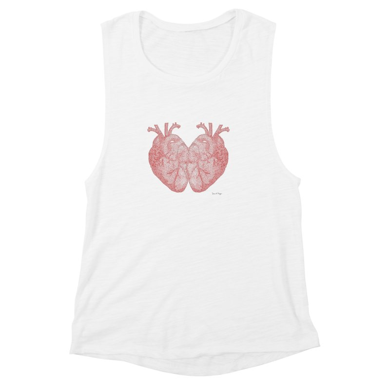 Heart to Heart - One Continuous Line Women's Muscle Tank by Daniel Dugan's Artist Shop