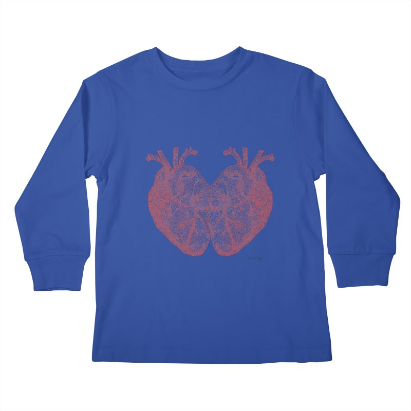 Heart to Heart - One Continuous Line Kids Longsleeve T-Shirt by Daniel Dugan's Artist Shop
