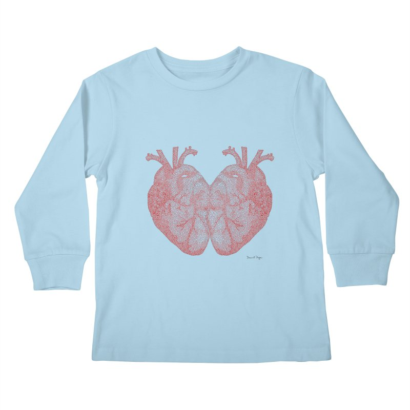 Heart to Heart - One Continuous Line Kids Longsleeve T-Shirt by Daniel Dugan's Artist Shop